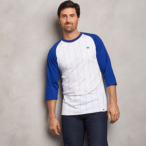 Men's Cotton Classic Pinstripe Baseball T-Shirt