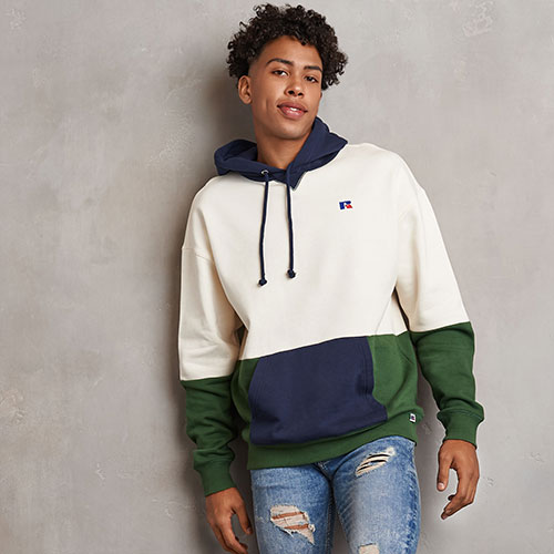 Men's Heritage Drop Shoulder Color Block Fleece Hoodie